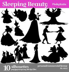 Spring Sale Sleeping Beauty Download Silhouette Clipart Digital Png Jpg Files Pk 0952 Disney Characters Silhouettes Fairy Silhouette Disney Silhouette Art