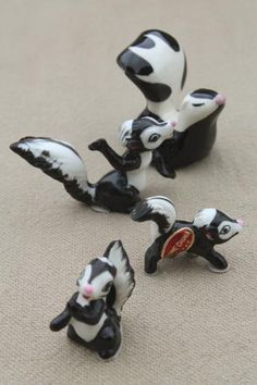 vintage Japan china figurine miniatures, tiny bone china animals, family of skunks