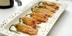Deep-Fried Zucchini Blossoms: Recipes: Cooking Channel: Recipe Courtesy of Laura Calder Deep Fried Zucchini, Zucchini Pommes, Zucchini Fries, Breaded Zucchini, Summer Vegetable Recipes, Healthy Summer Recipes, Vegetable Dishes, Vegan Recipes, French Food At Home