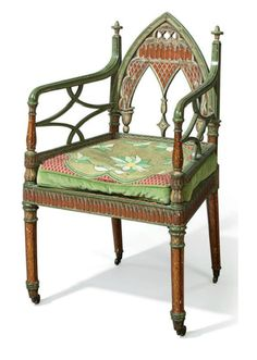 A LATE GEORGE III GREEN AND POLYCHROME-DECORATED ARMCHAIR  CIRCA 1790.