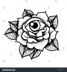 Old school rose tattoo with eye. Traditional black dot style ink. Isolated vector illustration. Traditional Tattoo Flowers Set Old School Tattooing Style Ink Roses #TraditionalTattoos