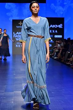 Tahweave Featuring a blue and white striped drawstring dress in khadi silk base with embroidery. Designer Wear, Designer Dresses, Celebrity Closets, Indian Fashion Designers, Pernia Pop Up Shop, Luxury Dress, Summer Wear, Western Wear, Indian Outfits