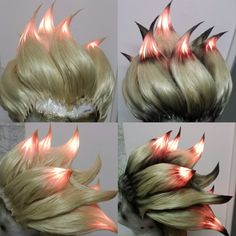 """One of two wigs : Cut, styled Wig without skin top and LEDs for Blizzard """"Junkrat"""" (Overwatch), Walking Act at gamescom 2016, wig comission © Florence Heyer FX"""