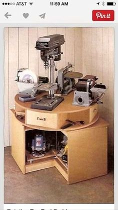 Holy. Shit. This is amazing!! If of course need one for the garage, but this could be extremely useful in my future craft room / she-shed / tiny house as well! I love regular lazy Susans, and this one is like the godmother of all other lesser lazy Susans. So cool.