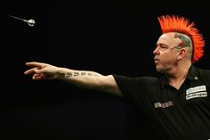 Peter Wright of Scotland plays a shot - Dean Mouhtaropoulos/Getty Images Peter Wright, World Of Sports, Sports Photos, Dean, Plays, Scotland, Punk, Humor, Humour