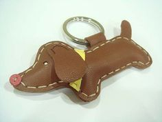 Yuto the Dachshund Leather Keychain  Brown  by leatherprince, $20.90