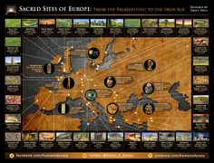 Poster available at: http://www.zazzle.co.uk/sacred_sites_of_europe-228897387446125922 This poster depicts 34 of Europe's most sacred sites. It includes ancient temples, megalithic structures, bronze age tombs and prehistoric artifacts. If you're planning to visit the most hallowed grounds of Europe, this poster is an essential tool for planning your unforgettable journey.
