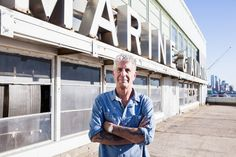 Anthony Bourdain on the site of his planned megamarket for international cuisine. (Photo: Alex Welsh for The New York Times)