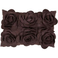 13-Inch x 20-Inch  Espresso Floral Pillow Cover with Poly Insert