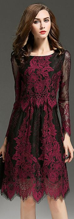 Burgundy Sheer Sleeves Embroidered Lace Dress
