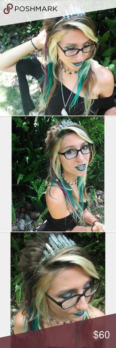 Tanzanite Aura Crystal Headband Tanzanite aura crystals wire wrapped with stainless steel onto a stainless steel headband.   #crown #custommade #handmade #festival #princess #fairy #elf #wedding #tiara #pastelgoth #kawaii #scenehair #mermaid #wanderlust Accessories