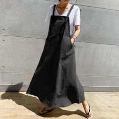 Celmia 2019 Women Retro Suspender Dress Korean Sleeveless Long Maxi Dress Female Casual Loose Solid Overall Dress Plus Size – Hot Products Cheap Dresses, Casual Dresses, Fashion Dresses, Dresses Dresses, Girl Fashion, Suspender Dress, Korean Dress, Apron Dress, Overall Dress