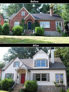 Before & After: painting a brick house. love the window boxes