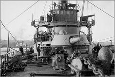 On the deck of the French armoured cruiser Amiral Aube in 1902.
