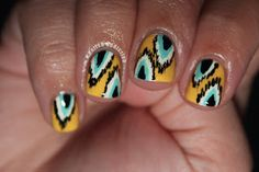 Ikat nail art design in yellow, turquoise, white & black (Rimmel 60 Seconds Sunny Days, Wet 'N' Wild French White Creme, Rimmel 60 Seconds Mintilicious, and Wet 'N' Wild Black Creme)