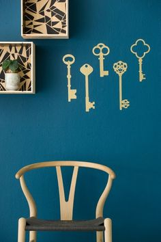 love these gold vintage key wall stickers from ferm living. so cute.
