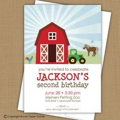 Farm Birthday Invitation Barnyard Invitation by brownpaperstudios, $15.00