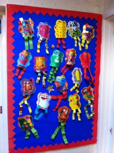Space theme. All 90 children in Year 1 made a mixed media alien