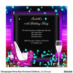 Champagne Party Any Occasion Celebration Invitation Custom Invitations, Party Invitations, Champagne Party, White Envelopes, Paper Design, Rsvp, Special Occasion, Celebration, Projects