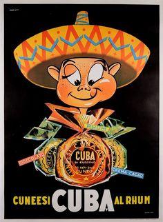 "Original Vintage French Poster Advertising ""Cuba Rhum"" Rum 1960's #Vintage"