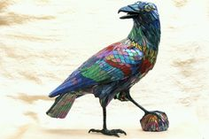 LOVE this Glorious Rainbow Raven...maybe it's bringing ALL Color-full, ALL Magical things for the New Year....YAY!!!!! by PJ Halloran, Mosaic sculpture