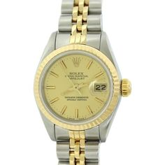 Pre-owned Rolex DateJust 69173 Two Tone 26mm Watch ($2,195) ❤ liked on Polyvore featuring jewelry, watches, preowned watches, dial watches, bezel watches, preowned jewelry and rolex watches