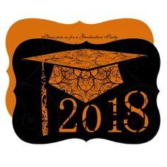 Orange and Black Floral Cap 2018 Graduation Party Card - graduation party invitations card cards cyo grad celebration
