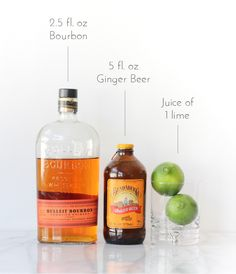 Kentucky Mule - 1-1.5 shots of bourbon - 5 fl oz. of a ginger beer - juice of one lime - ice
