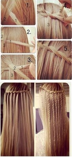 mini braid and waterfall - Click image to find more hair posts