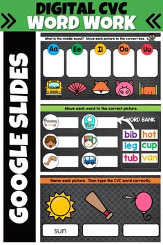 This digital CVC Word Work set includes 30 Google Slides that will give your kindergarten or first grade students practice reading and typing CVC words, as well as listening for the middle vowel sound! #kindergartenlearning #firstgradelearning #distancelearning #googleclassroom