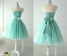 Wholesale Junior Bridesmaid Dresses - Buy 2014 Mint Green Bridesmaid Dresses Beach A-Line Strapless Tulle Short Homecoming Gowns with Lace-up Back And Flower Bow Short Summer Dresses, $51.84 | DHgate