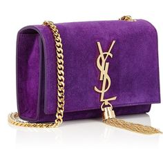 Saint Laurent Monogram Small Crossbody ($749) ❤ liked on Polyvore featuring bags, handbags, shoulder bags, crossbody purse, purple suede handbag, purple crossbody purse, monogrammed handbags and purple purse