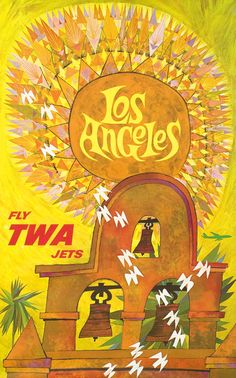 Los Angeles - Fly TWA Jets by Klein, David (1965) | Shop original vintage posters online: www.internationalposter.com