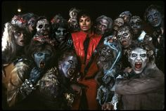 Michael Jackson and zombies on the set of Thriller - in 3rd grade, i kept a calendar of all the times i caught this video on MTV.  no joke.