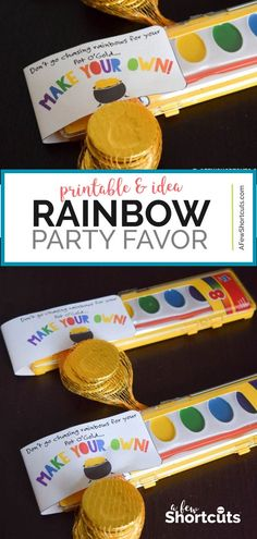 Make Your Own Rainbow Printable – Rainbow Party Favors Are you looking for kid-friendly St Patricks or Rainbow Party Favors? This Make Your Own Rainbow Printable is a perfect way to turn a set of watercolors into a creative gift! Rainbow Party Favors, Rainbow Party Decorations, Party Favors For Kids Birthday, Rainbow Parties, 4th Birthday Parties, Diy Rainbow Birthday Party, 3rd Birthday, Toddler Party Favors, Birthday Ideas