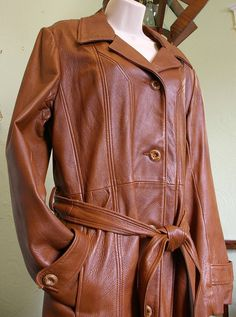 Vintage Leather Trench Coat  - Leathers of New England - - Like New on Etsy, $95.00