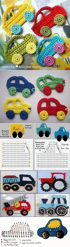 Knitted applications for children. Knitted a machine hook Crochet Car, Mode Crochet, Crochet For Kids, Crochet Motif, Crochet Designs, Crochet Crafts, Yarn Crafts, Crochet Flowers, Crochet Toys