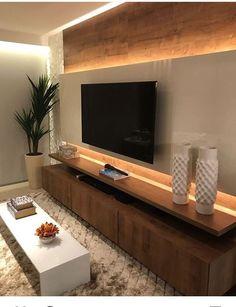 home sala 115 Salas de TV Decoradas com - Tv Wall Design, House Design, Living Room Tv Unit Designs, Tv Unit For Bedroom, Bedroom Tv, Bedroom Ideas, Tv Wall Decor, Wall Tv, Wall Wood