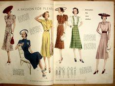 z Butterick Fashion Magazine - Summer 1938 1938 Fashion, Daily Fashion, Retro Fashion, Vintage Fashion, Vintage Dress Patterns, Vintage Dresses, Fashion Magazin, 20th Century Fashion, Fashion Images