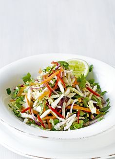 Shredded Thai chicken salad - spice up a salad with Thai chicken, red chilies and mint. couldn't be easier and is the perfect mid-week meal for two.