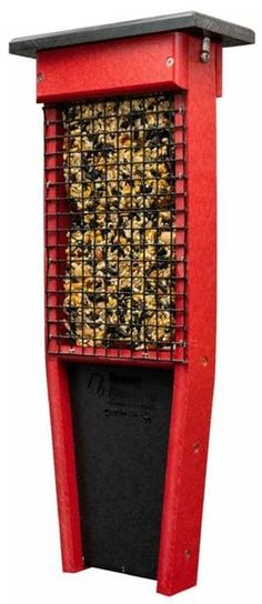 Recycled Poly Pileated Suet Bird Feeder Add 2 tasty suet cakes to this bird feeder and watch the birds come to feast. Poly feeder made with recycled plastic. Pick from 3 color combinations. #birdfeeder