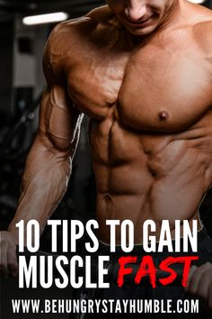 Learn how to gain muscle fast without wasting time in this article. It discusses the ten great ways to gain muscle and get in better shape quickly. You will learn how to eat, workout, and recover to build more muscle! Muscle Fitness, Mens Fitness, Fitness Tips, Health Fitness, Gain Muscle Fast, Muscle Mass, Body Building Men, Muscle Building Workouts, How To Get Muscles