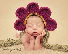 Flower Petal Bonnet Photo Prop Baby hat crochet. $21.00, via Etsy.