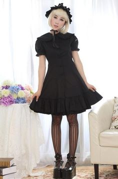 Dream of Lolita Black Cotton Classic JSK Dress. It will look so nice if matching a pair of  silk stockings and boots!
