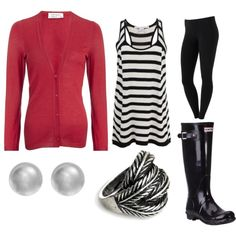 love the black and white under the red. black leather boots instead of rainboots and ditch the pearls