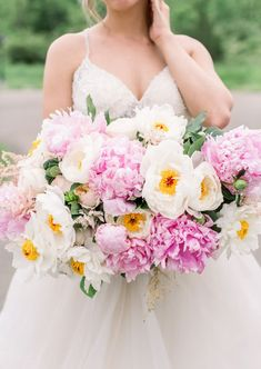 Pink and Blush Peony Bouquets