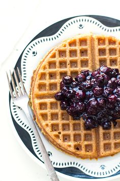 Simple Gluten-Free Waffles with Blueberry Cardamom Sauce • heartbeet kitchen