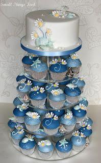 Daisy & Sea Shell Wedding Cupcake Tower