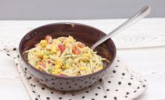 Spaghetti Salat mit Avocado