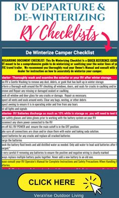 RV Departure Checklists- Stress Free Dewinterizing For Your Camper Rv Trip Planner, Travel Planner, Camper Checklist, Tent Camping, Camping List, Glamping, Camping Tricks, Camping Items, Camping Guide